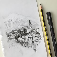 A quick pen and pencil drawing of Lake Bled Slovenia  #art #drawing #pen #pencil #sketch #illustration #lakebled #slovenia #lake #forest #architecture