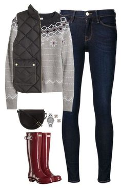 """L.L bean sweater, vest & Hunter boots"" by steffiestaffie ❤ liked on Polyvore featuring Frame Denim, Hunter, L.L.Bean, J.Crew, Tiffany & Co., Michael Kors and Tory Burch"