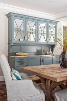 Love the colors! Refinish something Paris Gray to tie in kitchen cabinets!-hutch | Threshold Goods and Design