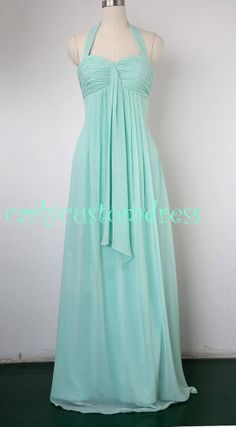 Cheap Long Mint Chiffon Bridesmaid Dress Coral Blue Peach Red Grey Black Halter Prom/Homecoming/Party/Cocktail Dress Wedding Party Dress