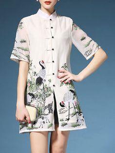 Embroidered Cheongsam Mini Dress