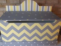 Toy Chest Yellow Gray Chevrons Bench Toy Box Hope Chest Toy Bin Toy Storage…