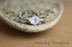 Vintage Style Lavender Moon Quartz Classic Solitaire In Sterling- Silver Engagement or Promise Ring - Elegant Purple Statement Ring.  We love this delicate beauty!  Repin this timeless classic ring to your own inspiration board!