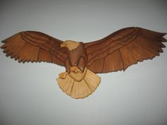 wood eagle handmade intarsia wall hanging by kitswoodart on Etsy, $75.00