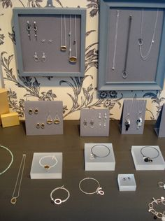 """[gallery link=""""file""""] Here are some pictures of my stand at the recent British Craft Trade Fair in Harrogate. Apart from being stuck inside an exhibiton hall when the weather was so sun… Jewelry Table Display, Retail Jewelry Display, Jewelry Booth, Jewellery Storage, Retail Displays, Jewellery Displays, Jewelry Ideas, Bead Storage, Craft Storage"""