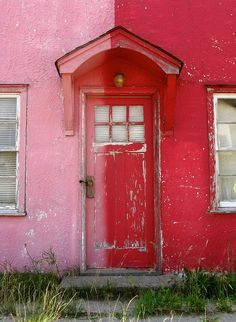 Red and Pink Door. Cool Doors, Unique Doors, Portal, Entrance Doors, Doorway, Door Knockers, Door Knobs, When One Door Closes, Door Gate