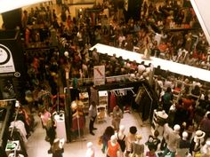 A packed hall full of people at Sandton City