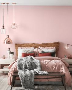So I know hubby won't let me paint the bedroom pink, but it's just so pretty. Sherwin Williams Rosy Outlook SW 6316 - I love the pink and gray with warm wood and metal accents Light Pink Bedding, Light Pink Rooms, Dusty Pink Bedroom, Pink Master Bedroom, Pink Bedroom Walls, Pink Bedroom Design, Pink Bedroom Decor, Master Bedroom Interior, Bedroom Wall Colors