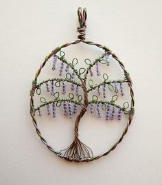 Louise Goodchild, Wisteria Tree, wire-wrapped and beaded pendant