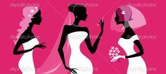 gelinler silhouettes - Stok İllüstrasyon: 9621884