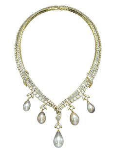 A NATURAL PEARL AND DIAMOND NECKLACE, BY M. GÉRARD   Of V-shaped design, with two lines of graduated baguette and brilliant-cut diamonds, suspending at the front five drop-shaped natural grey pearls, with diamond trefoil surmount, mounted in gold, 38.0 cm  Signed M. Gérard