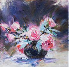 Red Roses Still Life Oil Painting on Canvas Fine Art Wall Decor. $ 140.00, via Etsy.