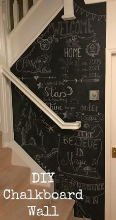 A step by step guide of how I painted and decorated a chalkboard wall at home. It was surprisingly easy to do and I love the finished look. Diy Decoration, Diy Home Decor, Diy Wall, Wall Decor, How To Order Coffee, Look At The Stars, Disney Home, Step Guide, Color Inspiration