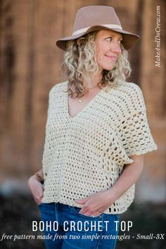 #freecrochetpattern Made from two simple rectangles, this poncho-style summer crochet top will give your outfits a boho vibe all season. Free crochet pattern using the Iris Stitch and the Boxed Shell Stitch, featuring Lion Brand Yarn LB Collection Cotton Bamboo.