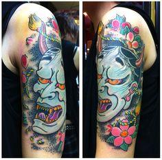 Japanese hannya mask tattoo designs by horimouja outline for Tattoo corpus christi