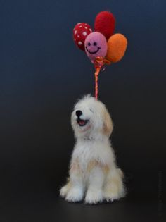 "Stanley ""I love you dog"", needle felted Bearded Collie"
