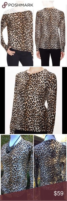 Cotton Cashmere Leopard Print Sweater NWOT Sassy and chic this Crewneck sweater can take you anywhere. Delicious blend of cotton and Cashmere. Beautiful draping. Ribbed bottom hem and sleeves. Fits true to size. Brand is Zoe & Sam but very similar to style, quality and price points of Rachel Zoe Rachel Zoe Tops