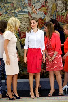 Spanish Queen Letizia attends an audience at Palacio de la Zarzuela, 28.07.2014 in Madrid