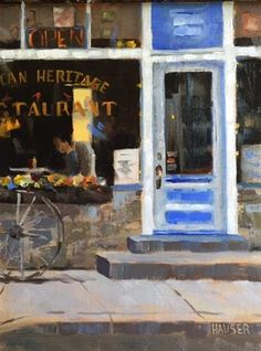"""Daily Paintworks - """"The Blue Door Cafe"""" - Original Fine Art for Sale - © Alice Hauser"""