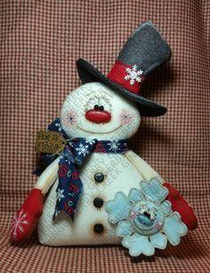 My Flakey Friend Pattern # 294 - Primitive Doll Pattern - Christmas - Winter - Snowman - Snowflake - Fiber Art - Whimsical - Shelf Sitter Felt Christmas Ornaments, Christmas Crafts, Christmas Decorations, Clay Ornaments, Christmas Christmas, Handmade Christmas, Primitive Doll Patterns, Snowman Crafts, Fiber Art