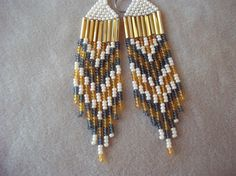 Ivory Gold and Gray Chevron Seed Bead Earrings by ArtskilsEarrings, $18.75