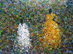"""Marcio Díaz Mother and Daughter 2010 This new style's moniker, """"bubblism,"""" was inspired by children who called his new work """"bubble paintings."""" The style has been compared to the """"pointillism of Seurat."""" But Diaz's work has heartfelt deepness that pointillism lacks. His simple, rural roots come through in his work taking the viewer on a journey back to his homeland.-Shawn Greenleaf"""