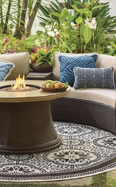 Comfortable cushioned pieces in circular formation make it easy for Pasadena to create the ultimate open-air chat room. | Frontgate: Live Beautifully Outdoors