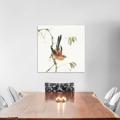 "Charlton Home Mountain Bush Warbler Painting Print on Wrapped Canvas Size: 18"" H x 18"" W x 0.75"" D"