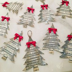 🎄Made these darling tree ornaments with my son's grade class. You can find the free printable vintage holiday sheet music on my… Sheet Music Ornaments, Music Christmas Ornaments, Sheet Music Crafts, Christmas Sheet Music, Christmas Tree Crafts, Diy Christmas Cards, Christmas Bows, Ornament Crafts, Handmade Christmas