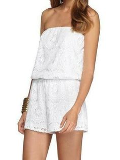 Lilly Pulitzer Nicole Strapless Romper in Resort White- a flattering romper at last!