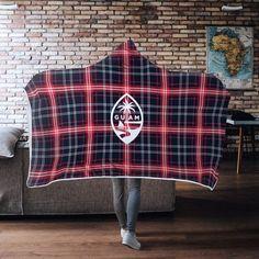 Guam Seal Navy Red Plaid Chamorro Christmas Gift Hooded Blanket