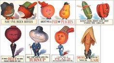 Giant Fruit & Vegetable Head People • Set of 7 Modern Postcards