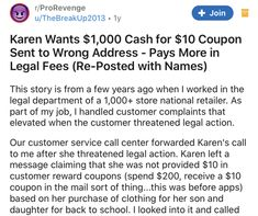 It's not advisable to get between a Karen and a coupon, but this time things turned out in customer service's favor. #customer #Karen #revenge #story #coupon #law