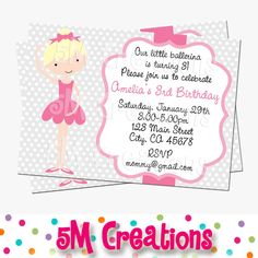 Shop for ballerina on Etsy, the place to express your creativity through the buying and selling of handmade and vintage goods. Pink Invitations, Printable Invitations, Party Printables, Invite, Ballerina Party, Little Ballerina, 3rd Birthday, Birthday Parties, Kc Ballet