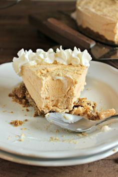 A frozen pumpkin pie cheesecake – a lighter pumpkin pie on top of a cinnamon crust.