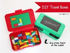 DIY Travel Lego Boxes. What a fantastic idea! Full instructions here: http://www.repeatcrafterme.com/2013/10/diy-lego-and-art-travel-boxes.html #autism #aspergers