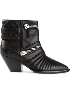 zipped biker ankle boots