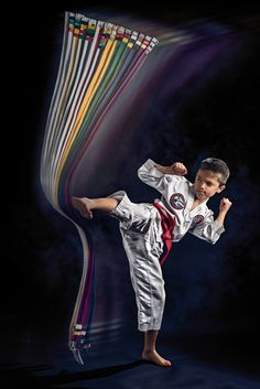 Taekwondo boy kicking at his belts. Photograph by Kevin Lee Medlin of CX Photo Works commercial photography in Indianapolis, IN. Muay Thai, Karate Photos, Dojo, Taekwondo Belts, Korean Martial Arts, Martial Arts Belts, Hapkido, Kevin Lee, Commercial Photography