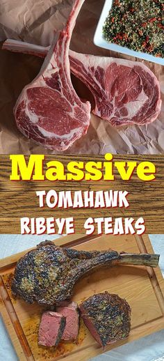 Tips and techniques for cooking thick steaks like these tomahawk ribeyes, also works on NY Strip steaks and beef fliet. Seared Salmon Recipes, Grilled Steak Recipes, Pan Seared Salmon, Grilled Strip Steak Recipe, Grilled Steaks, Grilled Meat, Meat Recipes, Tomahawk Steak Recipe, Tomahawk Ribeye