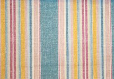 Club Stripe Fabric A multi stripe in yellow, red,pink and blue printed on a cotton linen fabric, with a stain resistant finish.