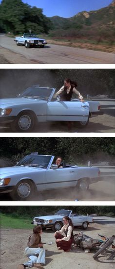 Lynda Carter in the TV series Wonder Woman, Season 2, Episode 22, The Murderous Missile. The show opens with Diana Prince driving a powder blue 450SL with the top down. On a motorcycle, Steve Inwood as Mac McDonald passes her recklessly on the road, crashes his bike, then pulls a gun on her and steals the Mercedes.