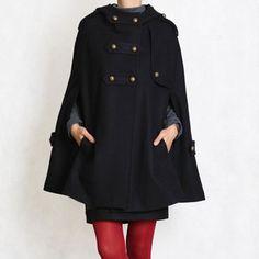 Hooded Cape Coat Black