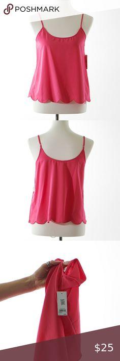 NEW Womens Spaghetti Strap Tank Top Medium Pink Zebra Print Striped Shirt Cami