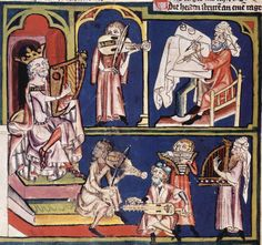 Del Weltchronik: El David con escribas y múscios. Iluminación del manuscrito de la biblioteca central de Zürich.