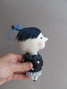 Polka dot fabric toy  Miniature doll  Gift for boy by KukloFerma, $19.00