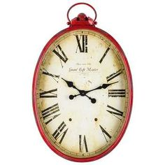 Red Metal Oval Wall Clock with Handle