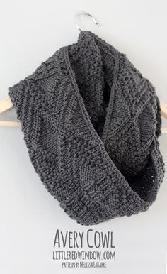 Avery Cowl   littleredwindow.com   You'll love this cozy geometric cowl knitting pattern by Melissa LaBarre as much as I do!