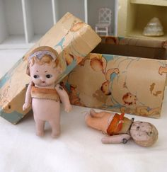 Jack & Jill Antique Doll Pair w/Charming Old Box