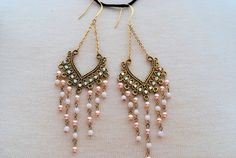 gypsy earrings dangly beaded tassle fringe gold pink by MyBlueBag, $14.00