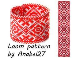Bead loom pattern Square stitch pattern ethnic by Peyote Stitch Patterns, Bead Loom Patterns, Beading Patterns, Bead Embroidery Jewelry, Beaded Jewelry Patterns, Bracelet Patterns, Beadwork Designs, Bohemian Pattern, Native Beadwork